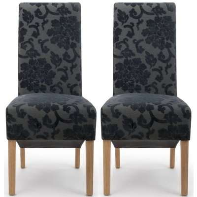 Shankar Krista Charcoal Baroque Velvet Roll Back Accent Dining Chair (Pair)