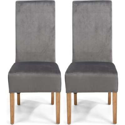 Shankar Krista Grey Brushed Velvet Scroll Back Fabric Accent Dining Chair (Pair)