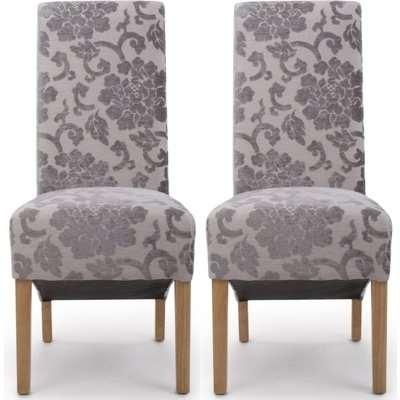 Shankar Krista Mink Baroque Velvet Roll Back Fabric Accent Dining Chair (Pair)
