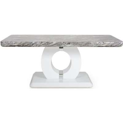 Shankar Neptune Grey and White High Gloss Marble Top Coffee Table