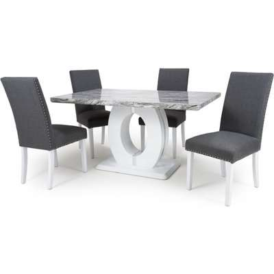 Shankar Neptune High Gloss White with Grey Marble Effect Dining Table and 4 Randall Steel Grey Dining Chairs