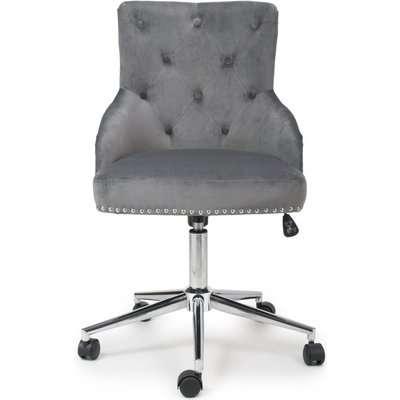 Shankar Rocco Grey Brushed Velvet Office Chair