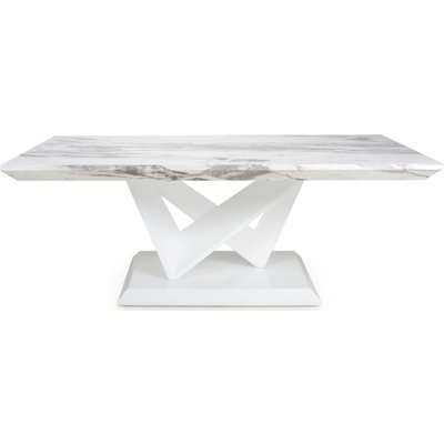 Shankar Saturn Grey and White High Gloss Marble Top Coffee Table