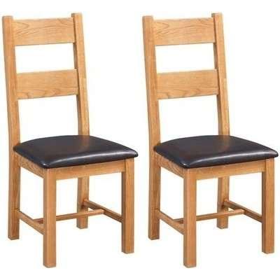 Somerset Oak Ladder Back Dining Chair (Pair) - Devonshire Furniture
