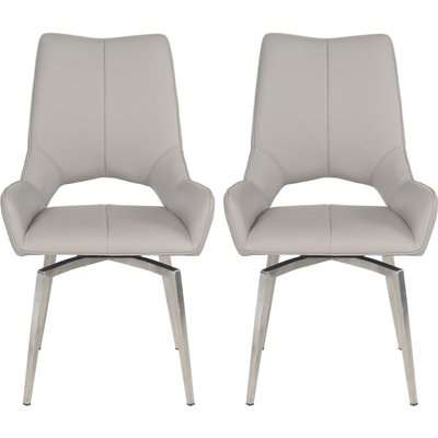 Spinello Taupe Faux Leather Swivel Dining Chair with Brushed Stainless Steel Legs (Pair)