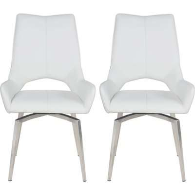 Spinello White Faux Leather Swivel Dining Chair with Brushed Stainless Steel Legs (Pair)