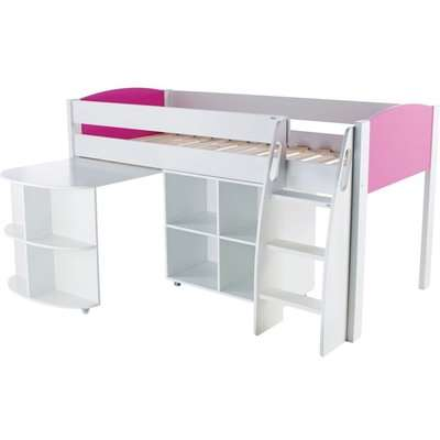 Stompa Pink Mid Sleeper with Desk and Cube without Door