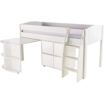 Stompa White Mid Sleeper with Pull Out Desk and 1 Multi Cube