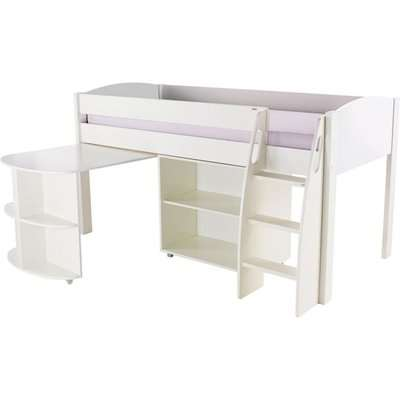 Stompa White Mid Sleeper with Pull Out Desk and 1 Bookcase without Door