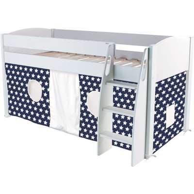 Stompa Mid Sleeper Bed - White and Blue Tent Stars