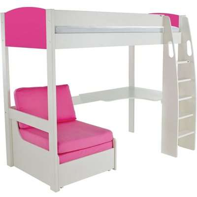 Stompa Pink High Sleeper Frame Including Desk and Pink Chair Bed