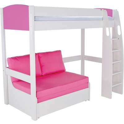 Stompa Pink High Sleeper Frame with Pink Double Sofa Bed
