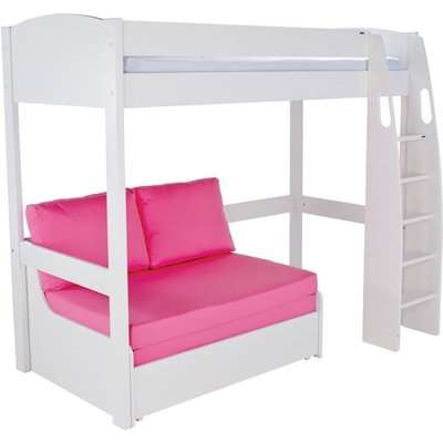 Stompa White High Sleeper Frame with Pink Double Sofa Bed