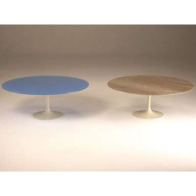 Stone International Flute Marble Round Dining Table with Metal Base
