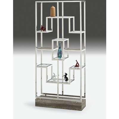 Stone International Kubo Etagere Marble Shelving Unit - Glass and Polished Stainless Steel