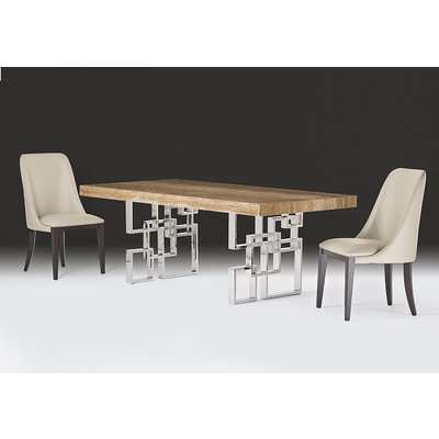 Stone International Windows Dining Table - Marble and Polished Stainless Steel