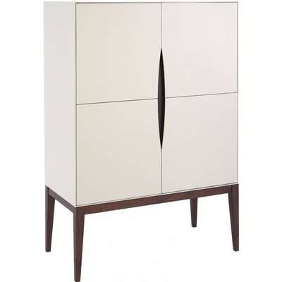 Stratford Off White and Walnut Tall Narrow Sideboard