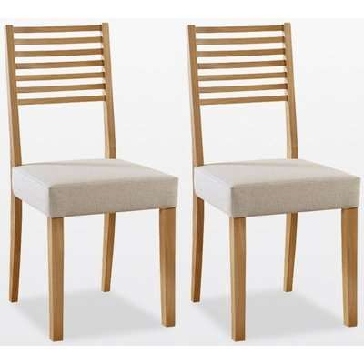 TCH Windsor Oak Ladder Back Fabric Seat Dining Chair (Pair)
