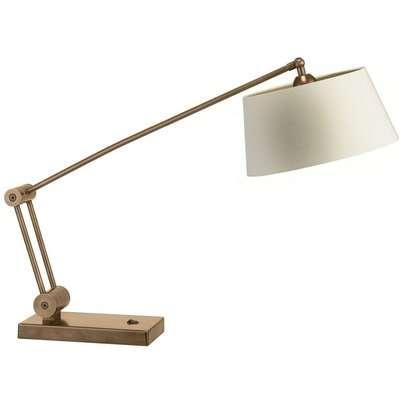 Heathfield Torun Antique Brass Desk Lamp with Ivory Silk Shade