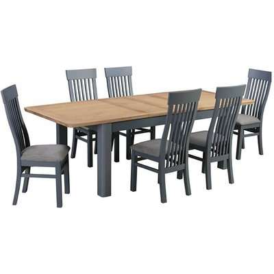 Treviso Midnight Blue and Oak Extending Dining Table with Chairs
