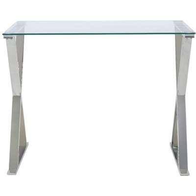 Tripoli Cross Frame Desk - Glass and Chrome