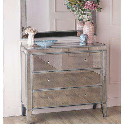 Alhambra French Aged  Mirrored 1 Drawer Bedside Table