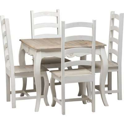 Urban Deco Fleur French Style Shabby Chic Painted 90cm Square Dining Table and 4 Chairs