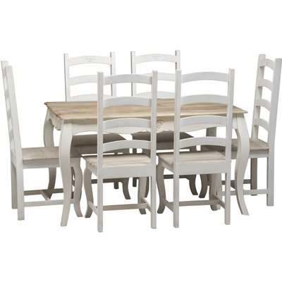 Urban Deco Fleur French Style Shabby Chic Painted 135cm Dining Table and 6 Chairs