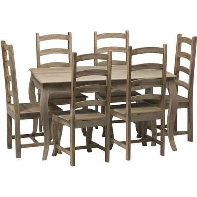 Urban Deco Fleur French Style Shabby Chic 135cm Dining Table and 6 Chairs