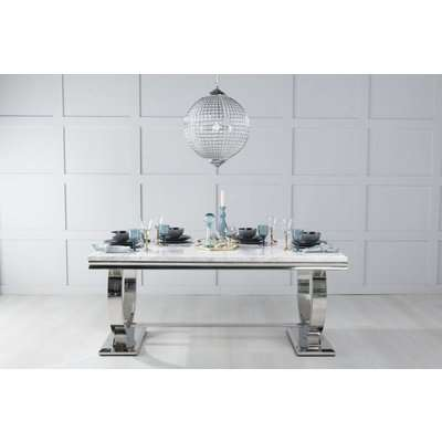 Urban Deco Glacier 180cm Rectangular Dining Table - White Marble and Stainless Steel Chrome