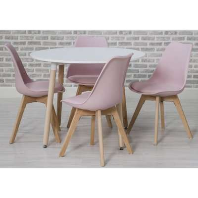 Urban White Round Dining Set with 4 Pink Chairs - 75cm