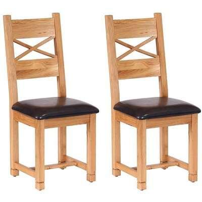 Vancouver Petite Oak Cross Back Leather Seat Dining Chair - Besp Oak