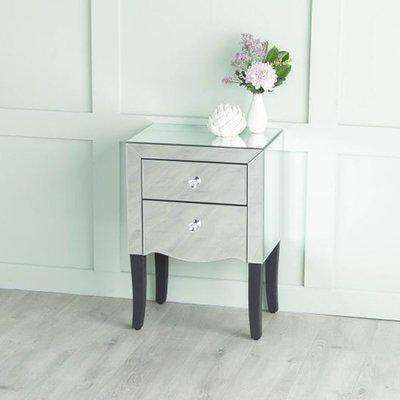 Venetian Mirrored 2 Drawer Bedside Table with Black Legs
