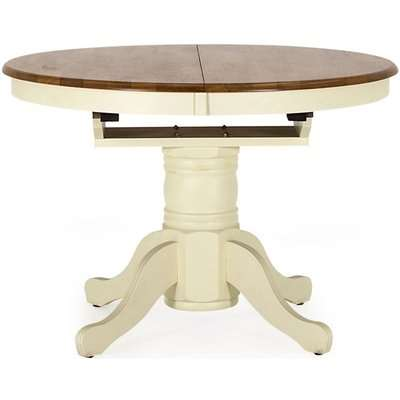 Vida Living Cotswold 107cm-150cm Buttermilk Round Extending Pedestal Dining Table