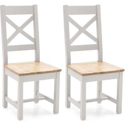 Vida Living Ferndale Ladder Back Dining Chair (Pair) - Oak and Grey Painted
