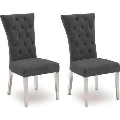Vida Living Pembroke Charcoal Velvet and Stainless Steel Chrome Dining Chair (Pair)