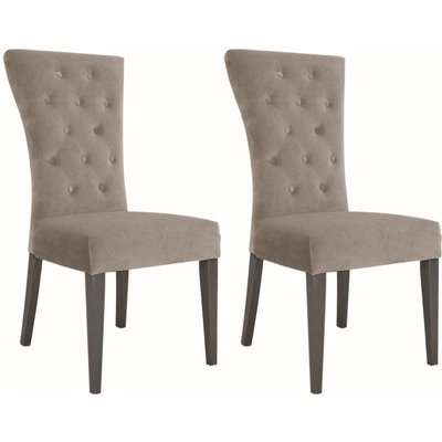 Vida Living Pembroke Dining Chair (Pair) - Taupe Velvet and Stainless Steel