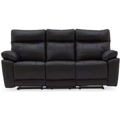 Vida Living Positano Black Leather 3 Seater Recliner Sofa