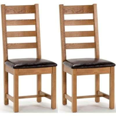 Vida Living Ramore Oak Ladder Back Dining Chair (Pair)