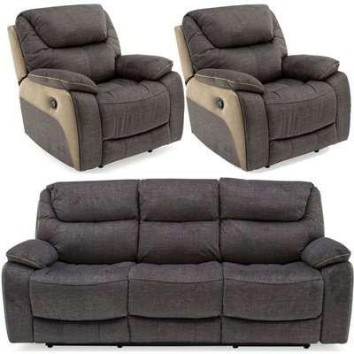 Vida Living Santiago Grey Fabric 3+1+1 Seater Recliner Sofa