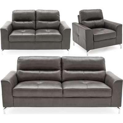 Vida Living Tanaro Grey Leathaire 3+2+1 Seater Sofa