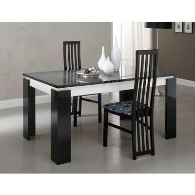 Vita Black and White Italian Extending Dining Table