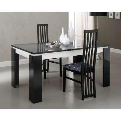 Vita Luxury Black and White Italian Extending Dining Table
