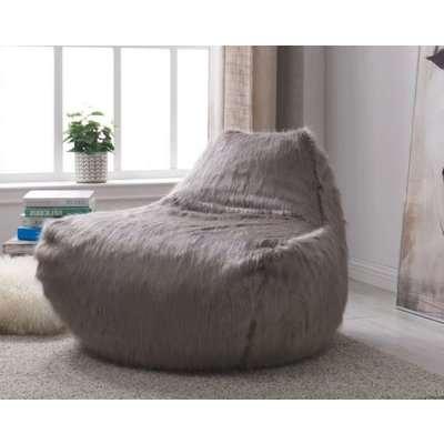 Grey Faux Sheepskin Fur Bean Bag