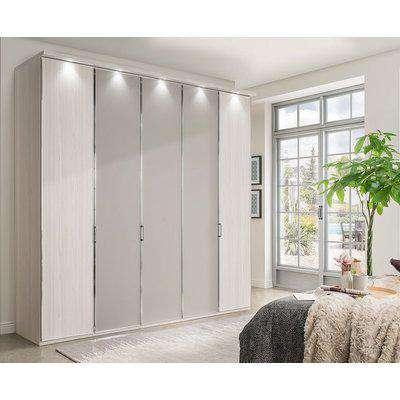 Wiemann All In 5 Door Wardrobe in Polar Larch and Pebble Grey - W 250cm