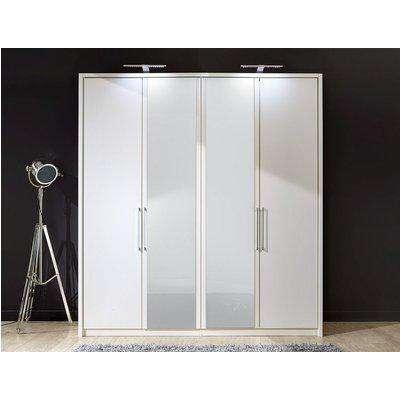 Wiemann Berlin 5 Door Wardrobe in White Glass - W 250cm