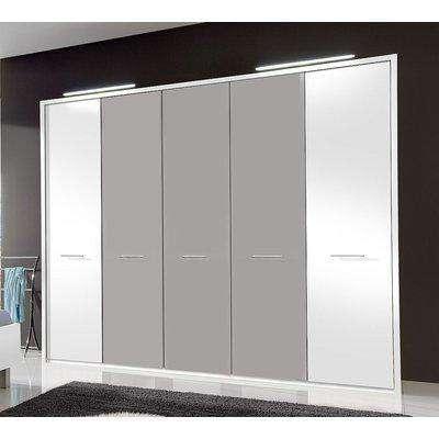 Wiemann Portland 5 Door Wardrobe in White and Pebble Grey - W 250cm