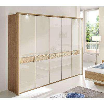 Wiemann Wega 5 Door Wardrobe in Oak and Champagne Glass - W 250cm