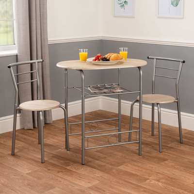 3 Piece Breakfast Table Set - Silver