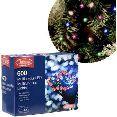 Christow Multi-Coloured 600 LED Multi-Function Christmas Lights